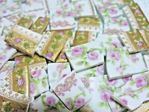 China Mosaic Tiles French Roses And Gold Broken Plate Tiles