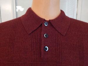 DOCKERS-Sweater-Burgandy-Collar-Button-Neck-Pullover-100-Acrylic-Mens-Sz-XL