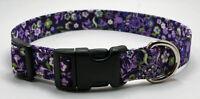 Handmade Custom Designer white & Green Flowers On Purple Dog Collar
