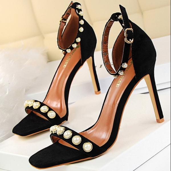 Sandali  9.5 cm eleganti stiletto gioiello negro pelle sintetica CW641