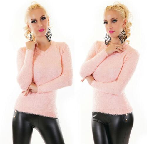 Maglione Donna Pullover Pelo lungo ecologico scollo a v morbido nuovo #