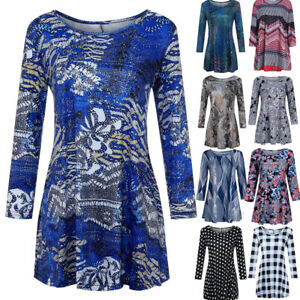 Fashion-Womens-Casual-Floral-Print-Shirts-3-4-Sleeves-O-Neck-Tunic-Blouse-Tops