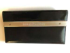 Billfold Gaultier Carve Leather Women's Paul Jean Plate Wallet Black Metal Long PNXZw80Okn