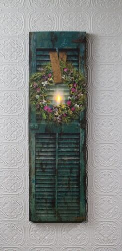 Shutter with Herb Wreath /& Flickering Candle Lighted Picture 39823 Radiance NEW