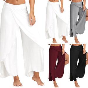 Women-Yoga-Pants-Palazzo-Wide-Leg-Casual-Plain-Loose-Harem-Summer-Beach-Trousers
