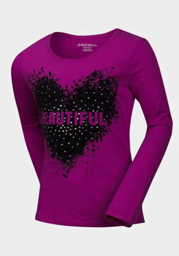 NUOVO Ragazze Manica Lunga Cotone T-shirt bellissima Arte /& Stud Top Età 6-16