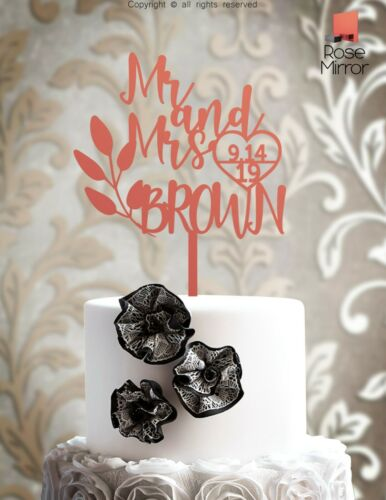 Personalized Bride Groom Mr Mrs Wedding Cake Toppers Customized Wood Laser IP107