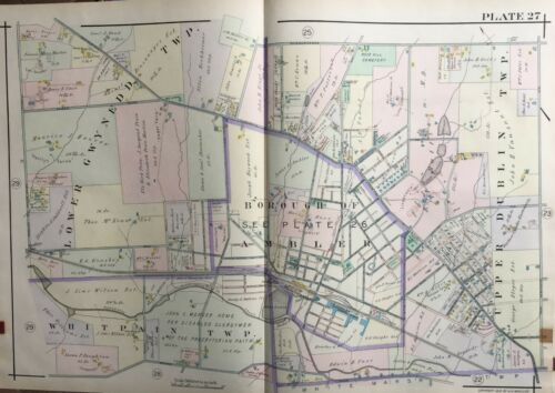 1916 MONTGOMERY COUNTY PA AMBLER WHITPAIN LOWER GWYNEDD UPPER DUBLIN ATLAS MAP