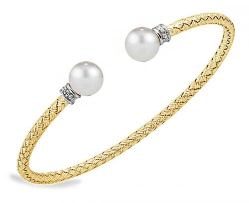 Charles Garnier Luna Jaune 925 Silver Cuff Bracelet Cultured Freshwater Pearl
