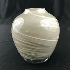 Small-Round-Art-Glass-Bud-Vase-with-Pearlescent-Gray-amp-White-Swirl-Handblown