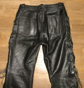 fette-Damen-Schnuer-LEDERJEANS-Biker-Lederhose-in-schwarz-in-Gr-42