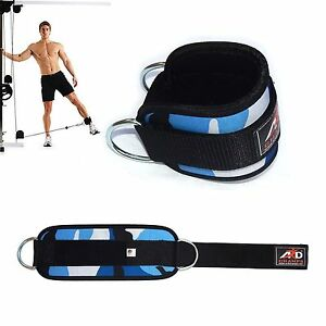 Gym-Exercise-Ankle-Strap-Weight-Lifting-Fitness-D-Ring-Cable-Attachment-Blue-Cam