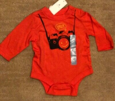 Gymboree NWT Orange DINO DUDE JUST HATCHED LONG SLEEVE BODYSUIT TOP 3 6 Months