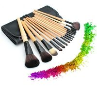 Pro 15 Pcs Makeup Brush Cosmetic Tool Kit Eyeshadow Powder Brush Set + Case Mac
