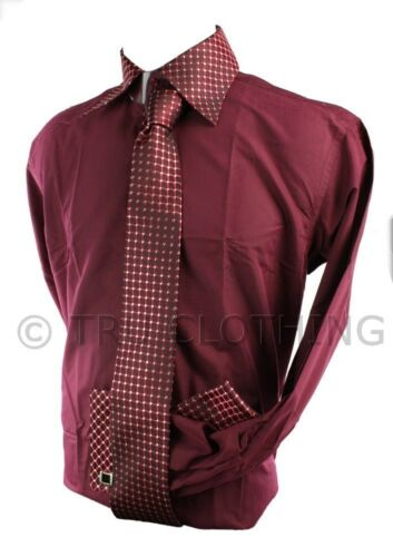 Boys Kids Button Shirt Tie Cuff Link /& Hankie Maroon Burgandy Wine Silver Design