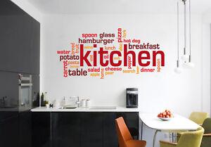 WALL STICKER Kitchen Adesivi murali colazione Cucina Caffé Negozio ...