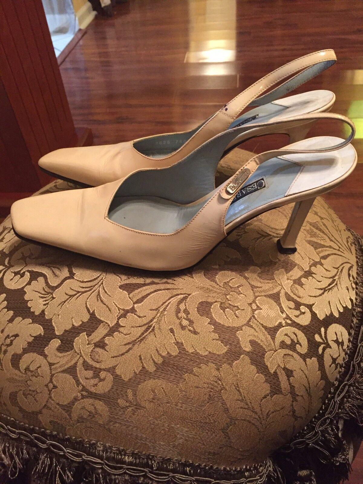 Cesare Paciotti 38 Ivory Patent Pelle Slingback Pumps Size 38 Paciotti 3c5882