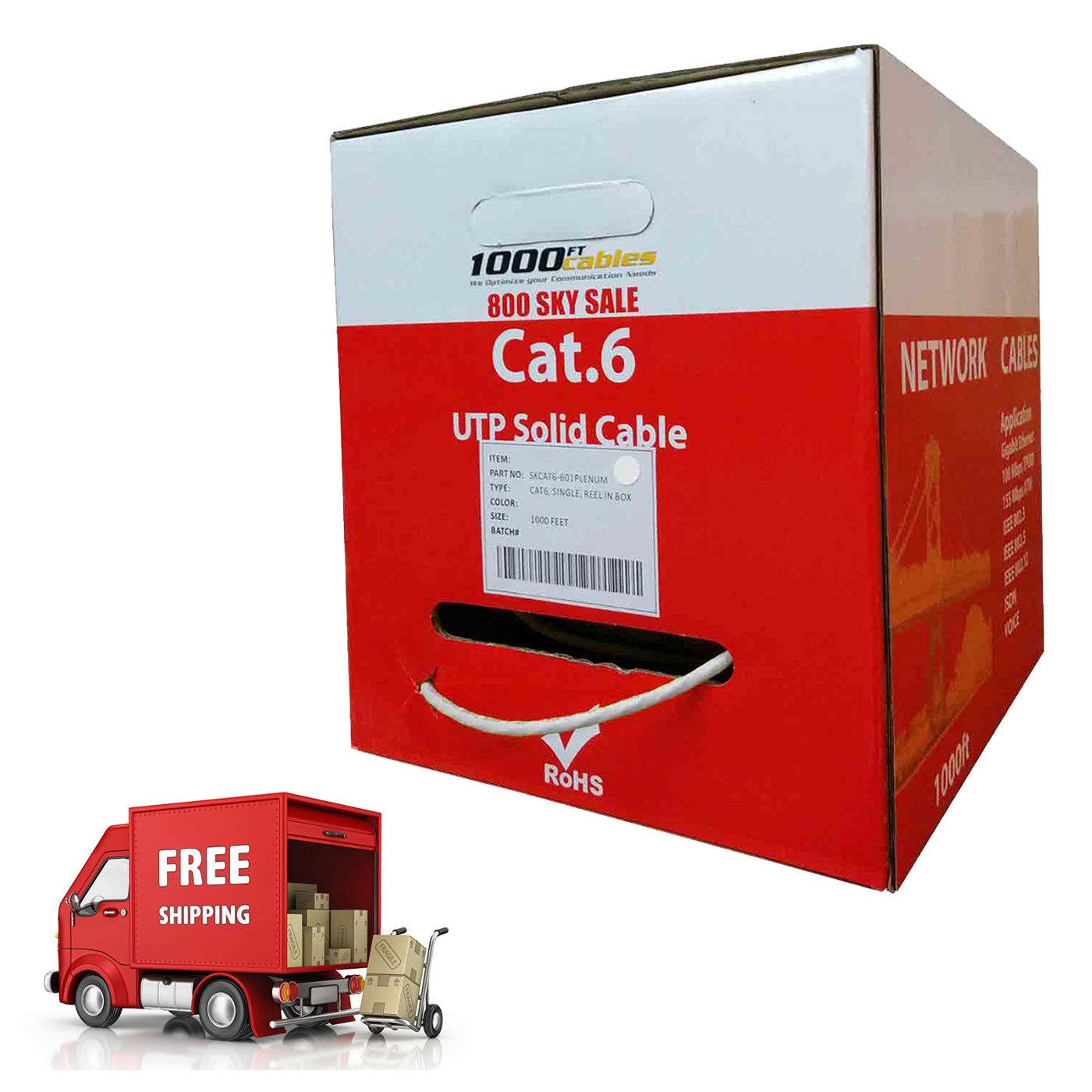 Clear Power CAT6 1000ft Plenum Bulk Ethernet LAN Network Cable CP60009 CMP 550Mhz 23AWG UTP Solid Cable UL Listed Red