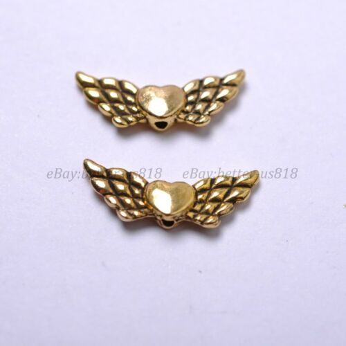 Tibetan Silver Gold Bronze Heart Angel Wing Spacer Charms Beads 22X9MM A57