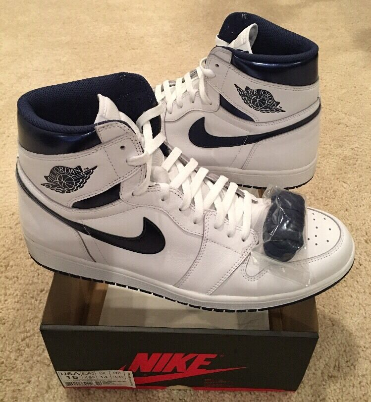 Nike Air Jordan Retro 1 High OG Metallic bluee White Midnight Navy Size 15