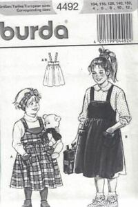Burda-4492-Child-039-s-Girls-Jumper-Dress-Size-4-12-Sewing-Pattern