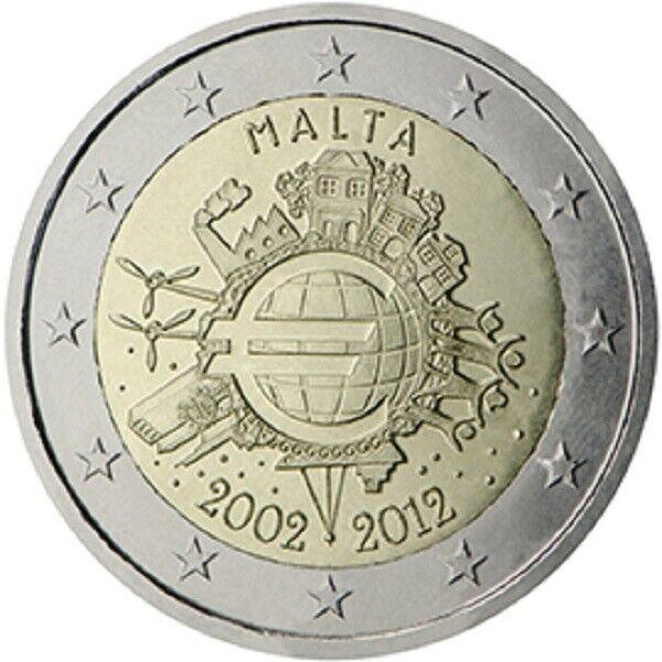 2 € Malte 2012 Dix Ans De L'euro Nouveau!!!!!!!!!!!