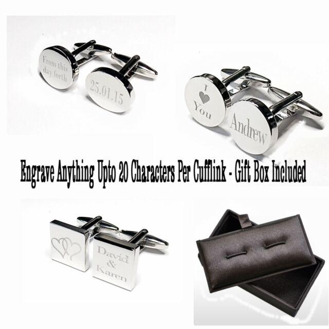 Engraved Silver Cufflinks & Gift Box Cuff Link Wedding Best man Personalised BLK