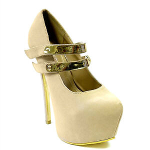 Double Metal Plate Straps Mary Jane Pumps Black Nude Red High Heel Women/'s Shoe