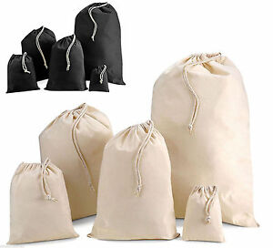 100-Cotton-Plain-Drawstring-Bags-Xmas-Sack-Stocking-Storage-Laundry-Bag