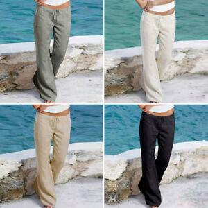 femme-simple-Pantalon-Lin-Pantalon-d-039-ete-decontracte-plage-chino-kaki-cargo