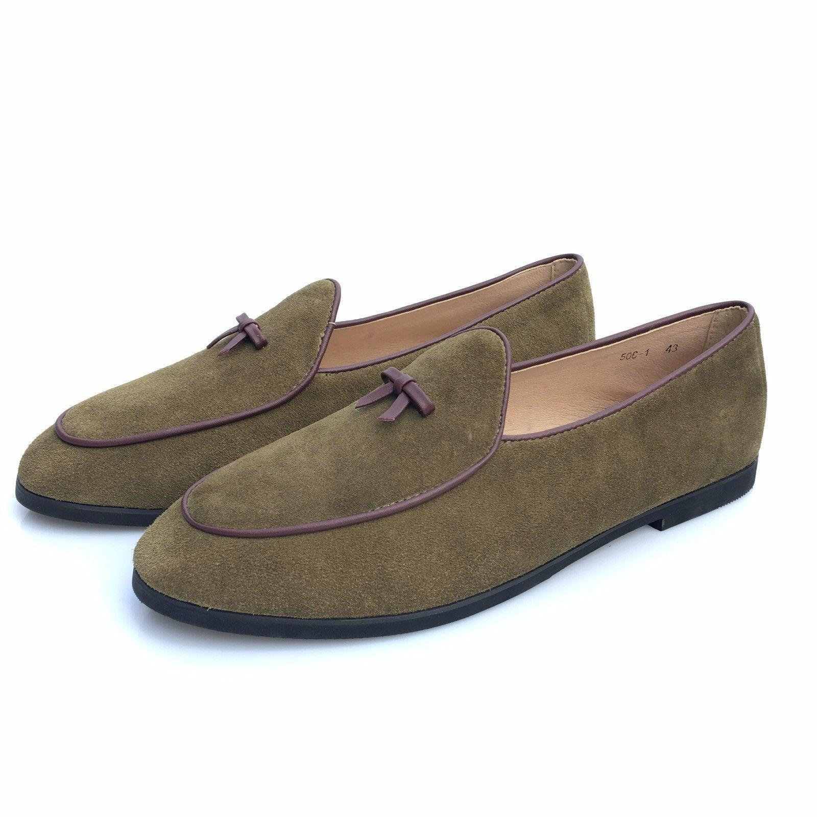 Comfort on Leather Loafers Belgian DressShoes Uomo Prom Shoes Slip on Comfort Flats Bowtie d46b4c