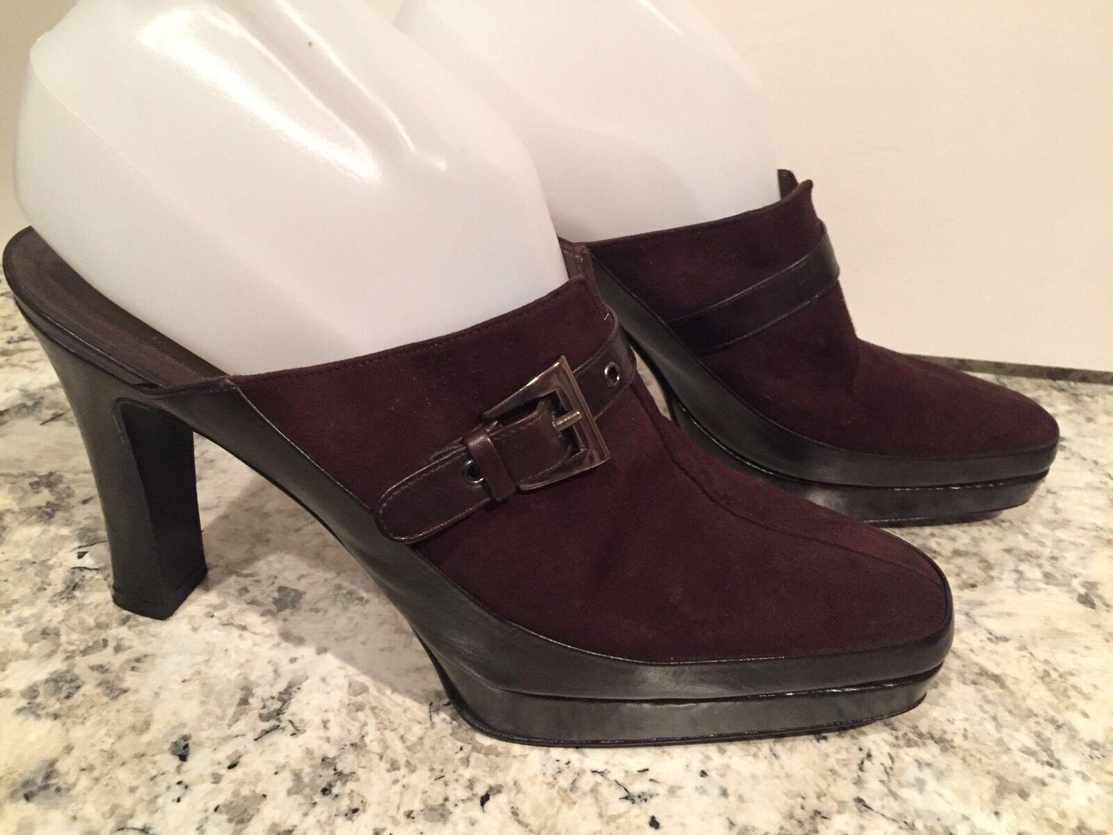 Stuart Weitzman shoes Pumps Slides Clogs Heel Suede Leather Brown Black 7.5 M