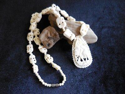 Carved Bovine Bone Elephant Necklace Large Intricately Carved Pendant Vintage Ebay