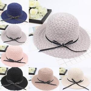 Sun Hat Bowknot Summer Hats For Women Foldable Straw Beach Panama ... 211fe878d6c