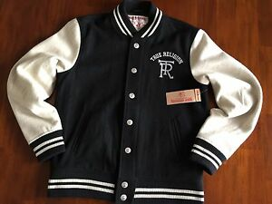 TRUE-RELIGION-COLLEGIATE-VARSITY-WOOL-BLCK-amp-WHITE-JACKET-MEDIUM-329