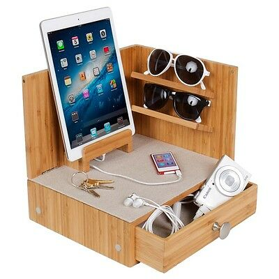 """""""zen"""" Corner Multi-device Charging And Sunglass Station Dock Valet With Drawer"""
