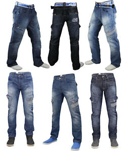 Mens-Crosshatch-Jeans-Cargo-Combat-Corona-Regular-Fit-Denim-Pants-Trouser