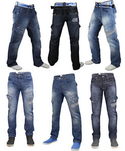 Mens-Cargo-Jeans-Combat-Corona-Regular-Fit-Denim-Pants-Trousers-Blue-Size-30-40