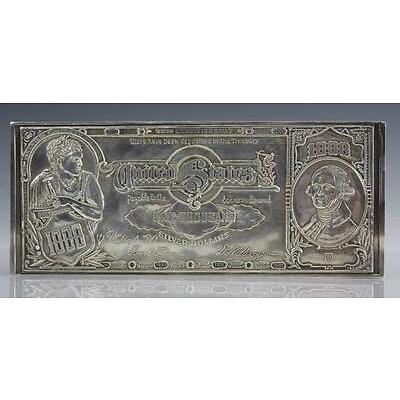 6. 16 ozt .999 1lb $1000 US Certificate Pure Silver Bar Lot 6