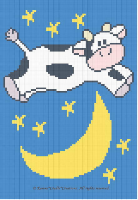 Crochet Patterns Cow Jumped Over The Moon Baby Afghan Pattern Ebay