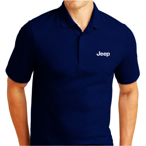 JEEP LOGO EMBROIDERED PIQUE POLO SHIRT WORK OUTDOOR SPORT BIRTHDAY GIFT
