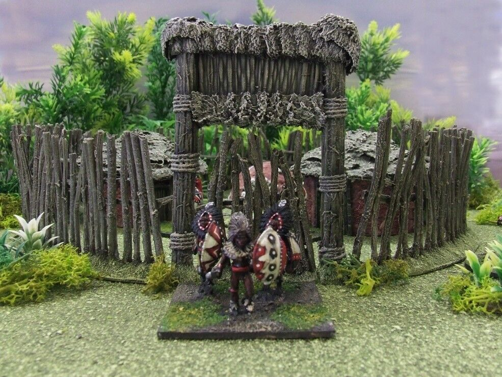 28MM COLONIAL AFRICAN VILLAGE (RED)-PAINTED - Congo Death In The Dark Continent
