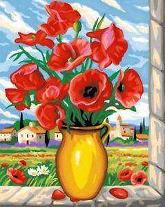 Details Zu Malen Nach Zahlen Mohnblumen Blumen 40 Cm X 50 Cm Ohne Mischen Komplettset