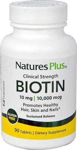 Nature's Plus, biotina, 10 Mg/10,000 mcg, de liberación sostenida, 90 Tabletas
