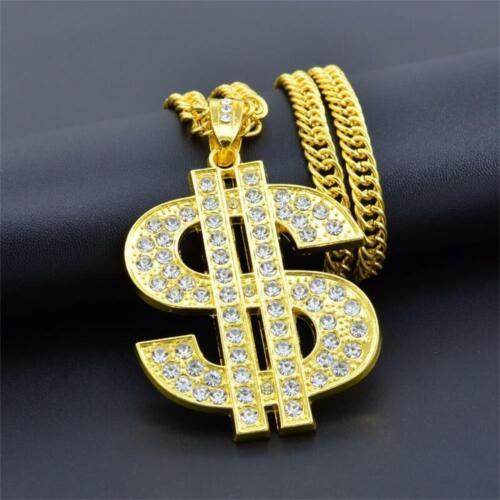 Diamond Bling Dollar Sign SAVAGE Pattern Hip Hop Necklace Twist Link Chain