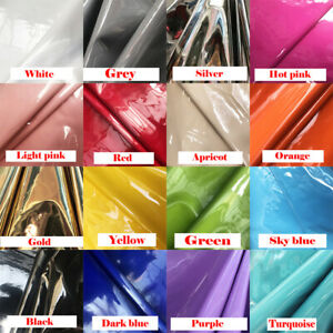 PU-Faux-Leather-Latex-Wet-Look-Shiny-Fabric-Flannel-Backed-Clothing-Material-Sew