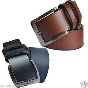 Mix of leather men brown and black belts with self plain shade combo pack of two