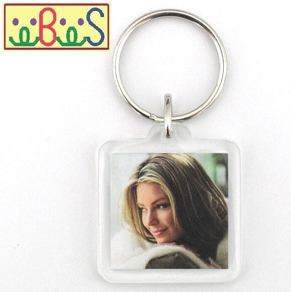 2x Blank Sq Clear Acrylic Keyrings 25x25mm Photo Size (key ring plastic) F1428