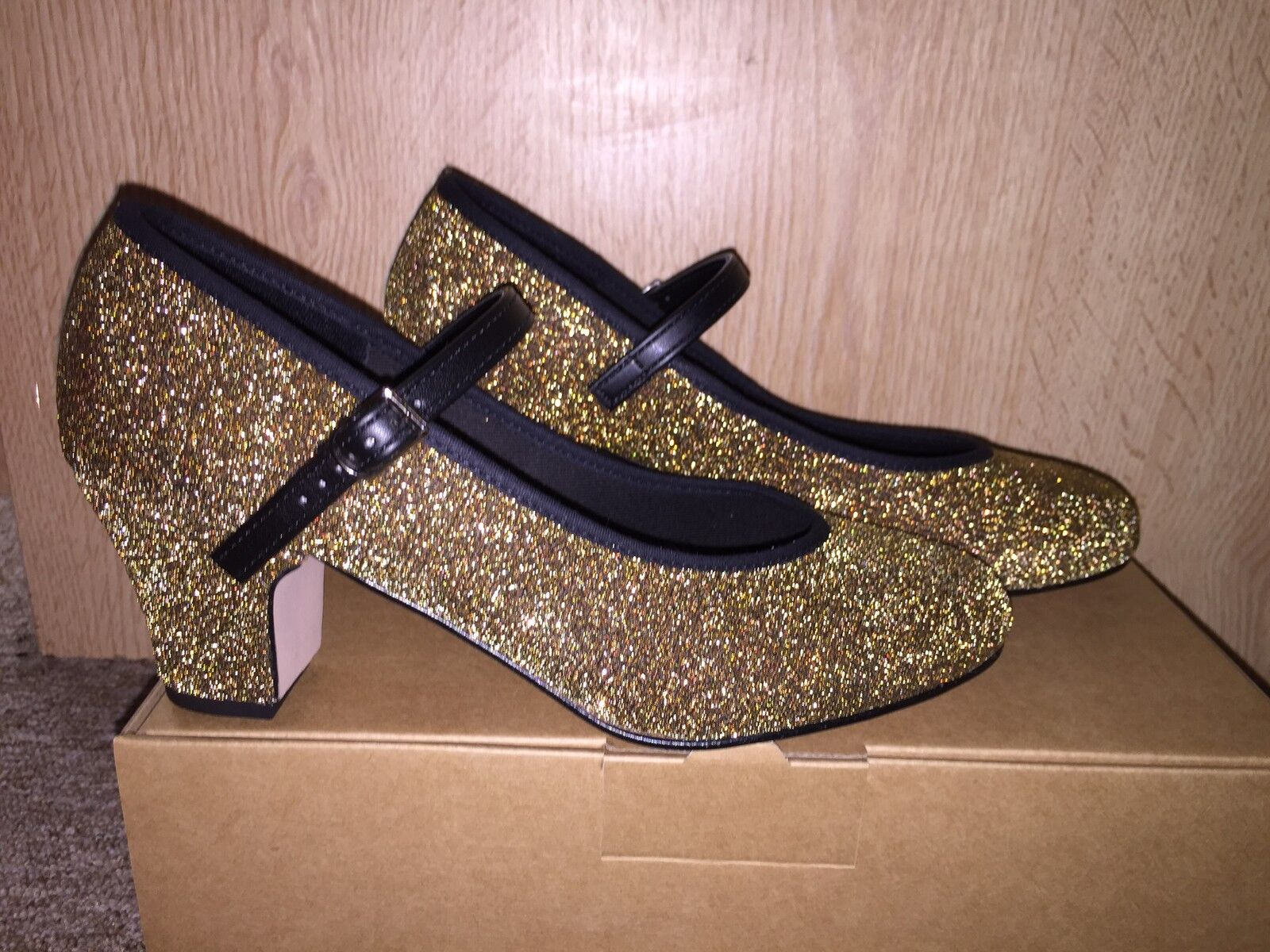 Gold Sparkly Glitter Character Stage Showtime Dance Shoes By Katz Christmas