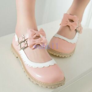 Mary-Janes-Sweet-Womens-Bowknot-Round-toe-Ankle-Strap-Party-Shoes-Lolita-2019